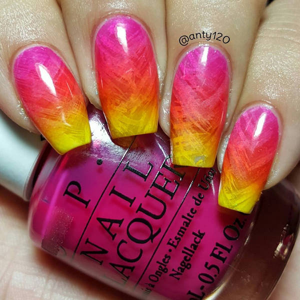 yellow-red-pink-ombre-nail-art - DIYbunker