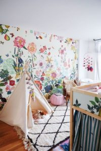 This wall is such a stylish solution for decorating a little girl's bedroom. This would totally work in a craft room as well. Oh, the possibilities!