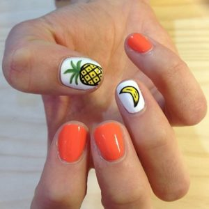 pineapple and banana nail design
