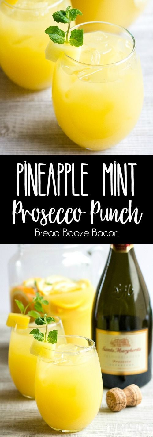 Pineapple mint prosecco punch
