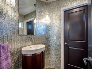 shiny room dark wood bathroom
