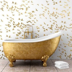 If you've got to have your gold, this bird wallpaper is such a winner. It's clean and the design is the coolest!