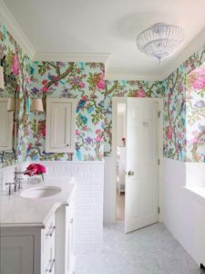 Add some color to your bathroom with some vibrant tropical bird wallpaper! Accent with blue or pink flowers to complete this look.