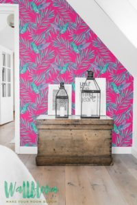 I love the vibrant magenta and blue colors on this wallpaper! Pair with white and neutrals and you've got an unforgettable look!