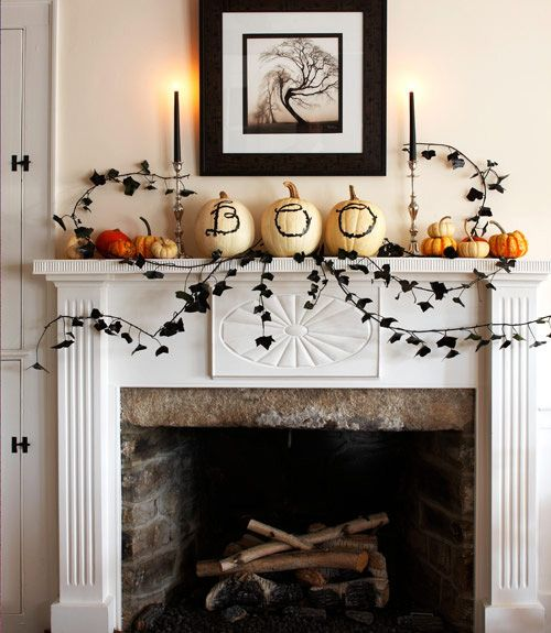 White Boo Halloween Mantel Decor