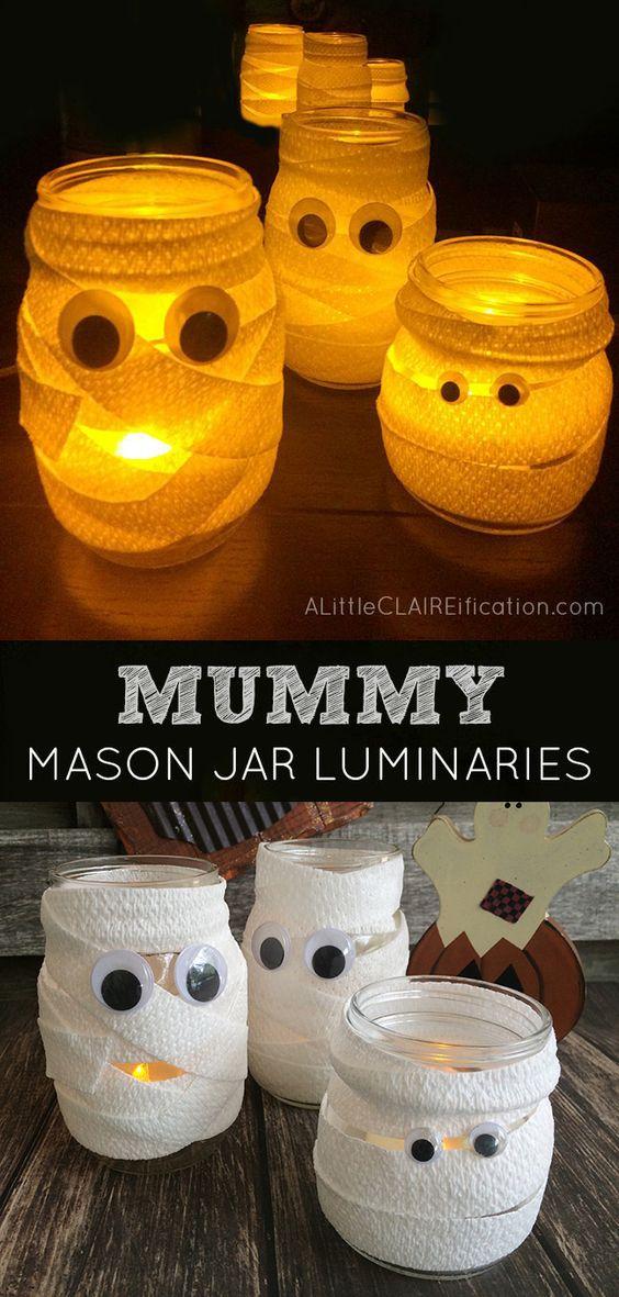 DIY Mummy Mason Jar Luminaries