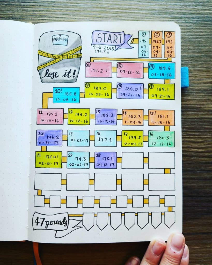 Weight Loss Tracker With Goal Bullet Journal