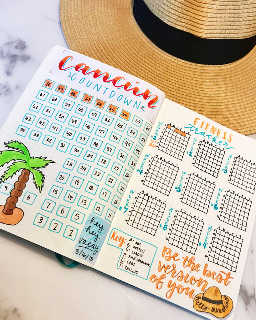 Vacation Planning Weight Loss Bullet Journal