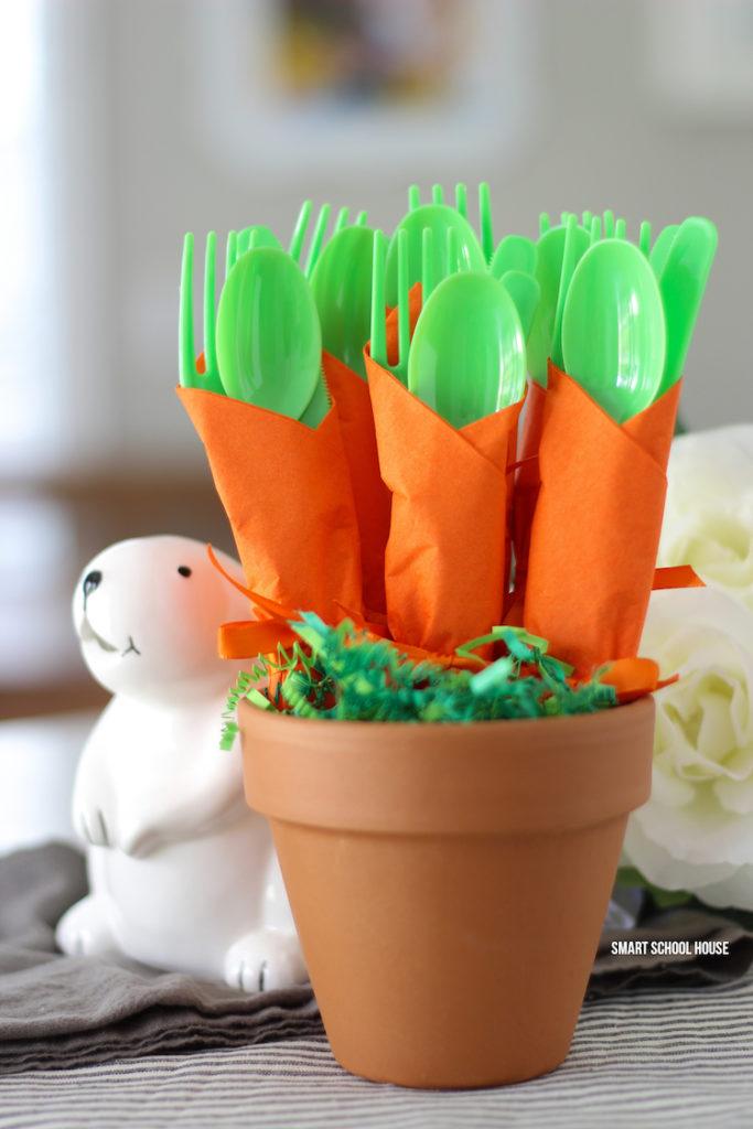 Adorable Carrot Utensil Holder For Easter