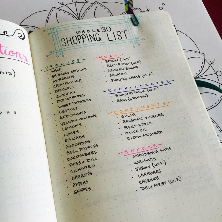 Shopping List Meal Prep Bullet Journal