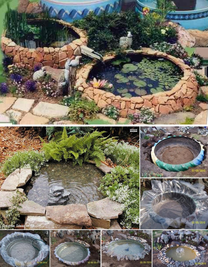 Backyard DIY Pond from Old Tires