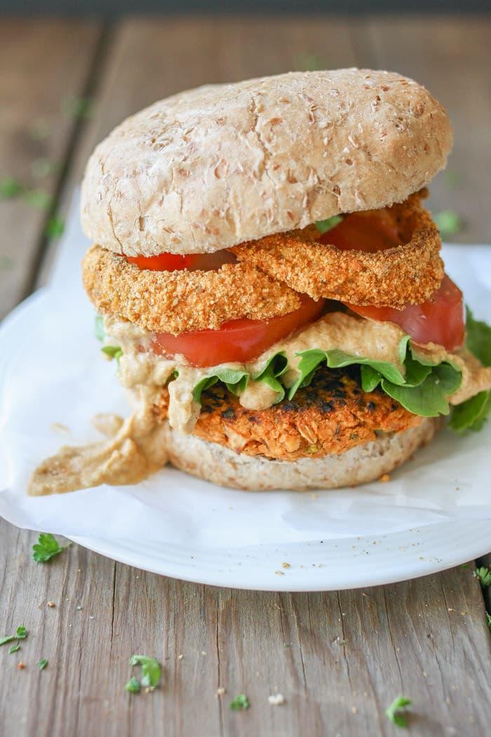 Buffalo Chickpea Vegan Burger 4th of July