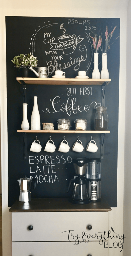 Floating Shelves Coffee Station