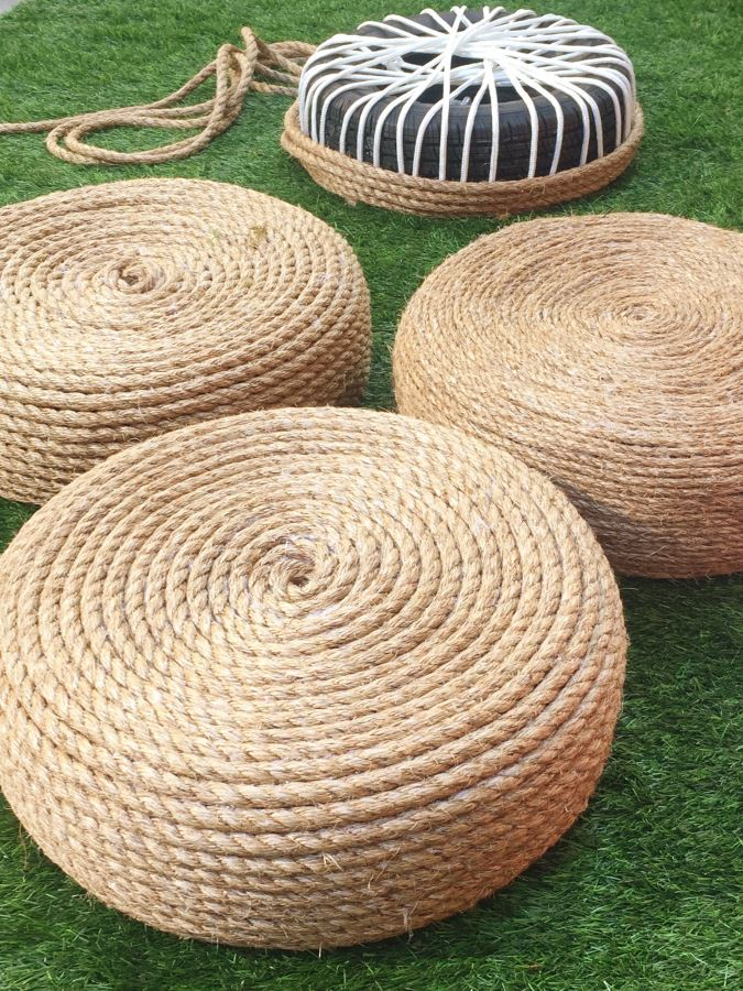 DIY Backyard Rope Chairs From Old Tires   Outdoor Seating Project