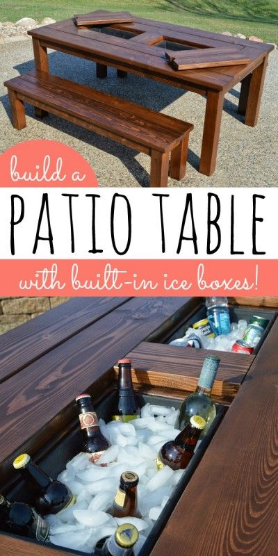 DIY Patio Table With Ice Boxes
