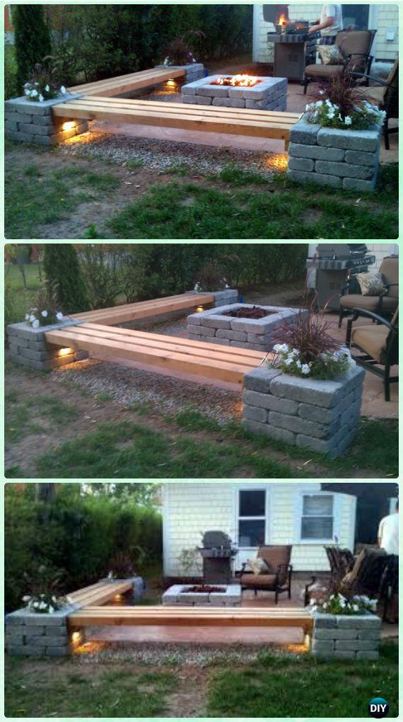 Backyard DIY Fire Pit and Bench