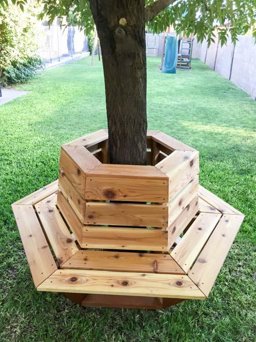 DIY Tree Wrap Around Cedar Bench