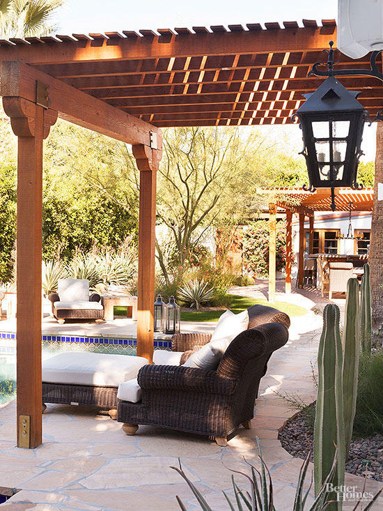 Brown Attached Pergola Idea
