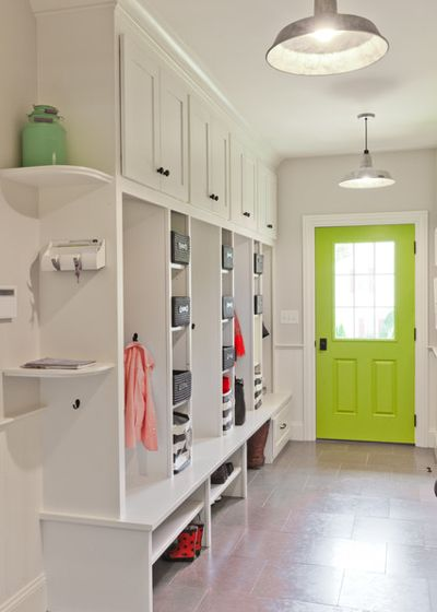 Mudroom Entryway With Green Door