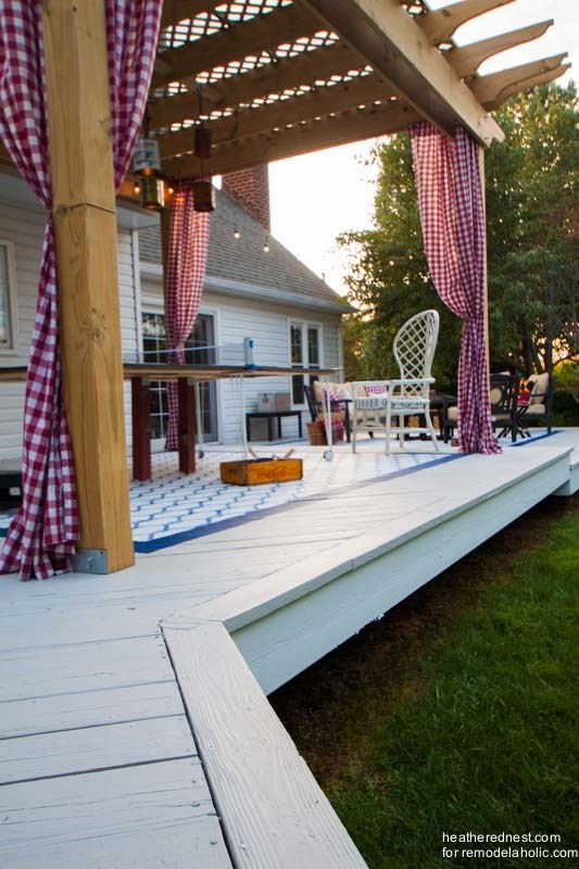 Pergola on Top of White Deck DIY