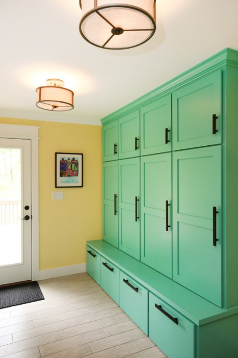 Green Cabinet Mudroom Entryway Design