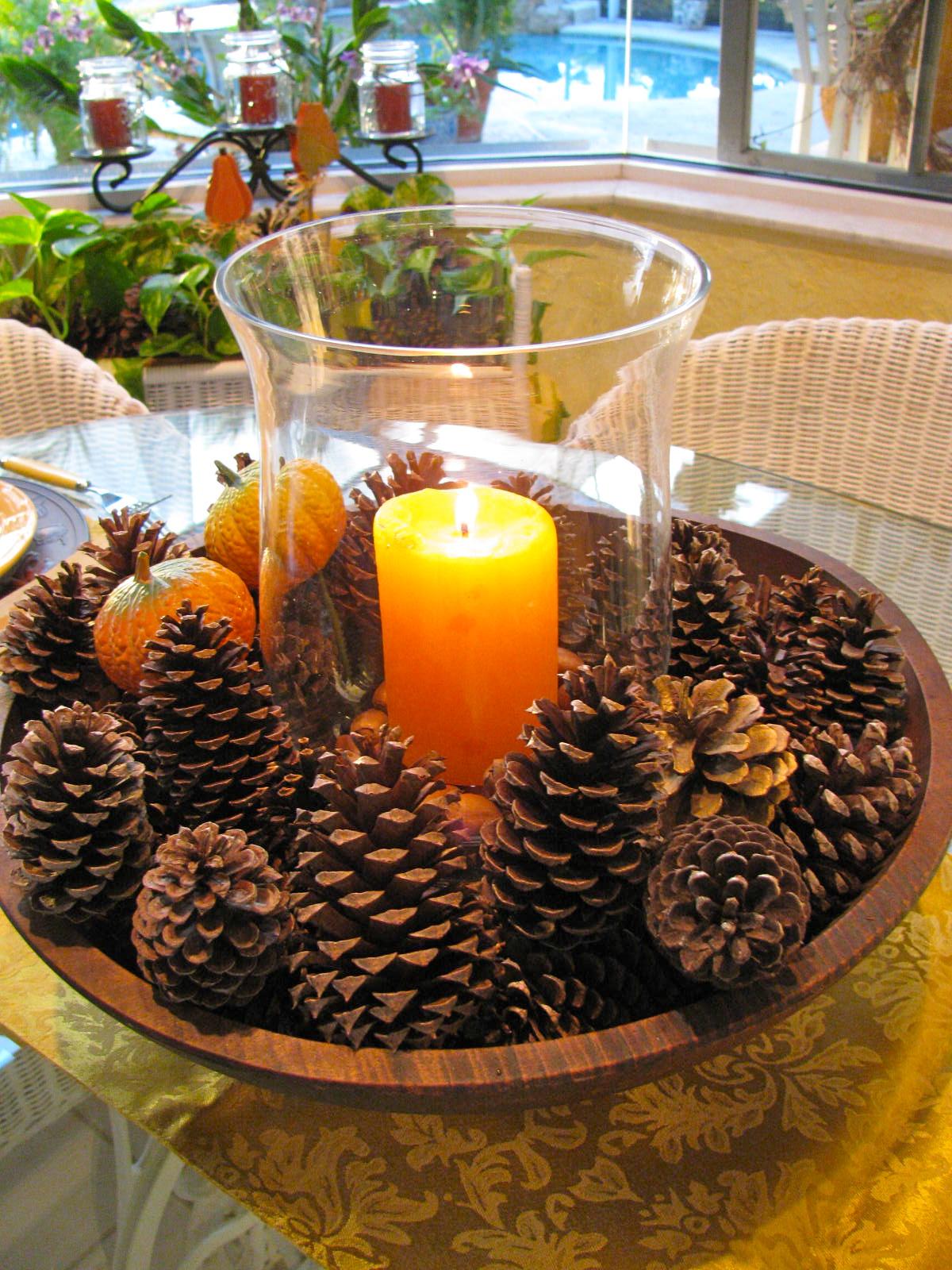 Rustic Pine Cone Fall Centerpiece DIY Idea