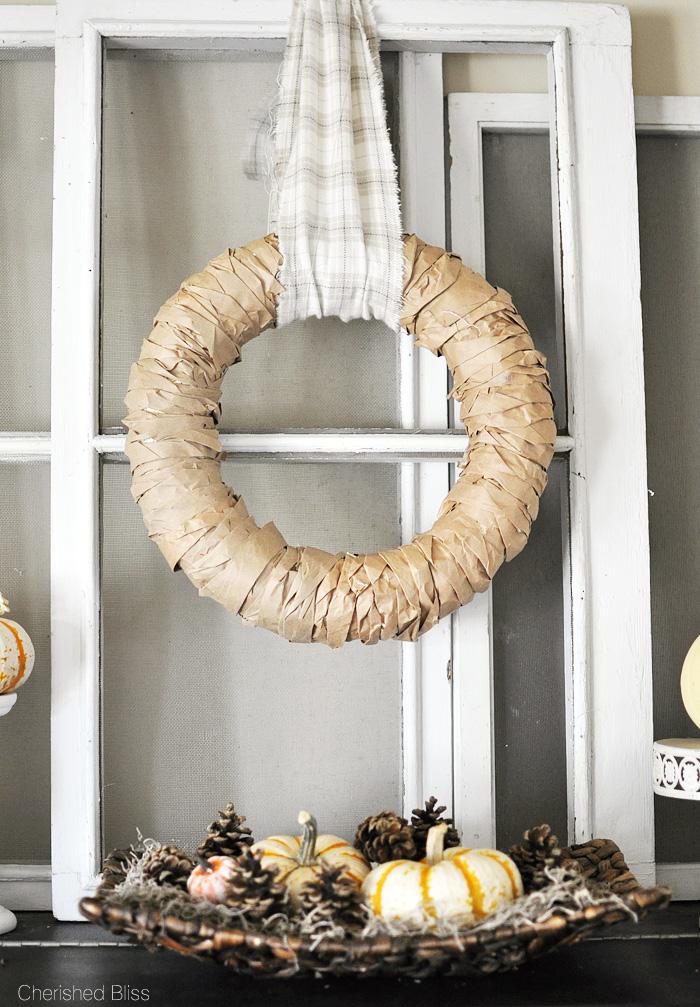 DIY Rustic Fall Decor | Paper Bag Wreath