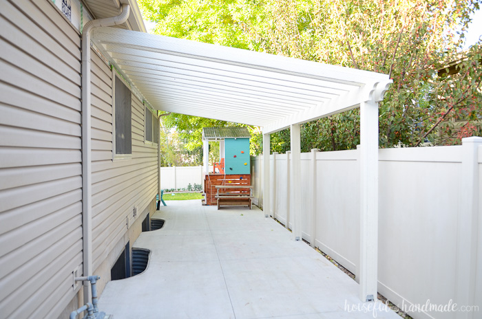White Attached DIY Pergola