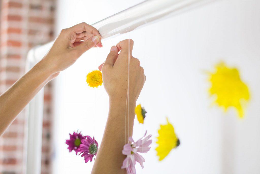 Hang Flowers on Backdrop Frame