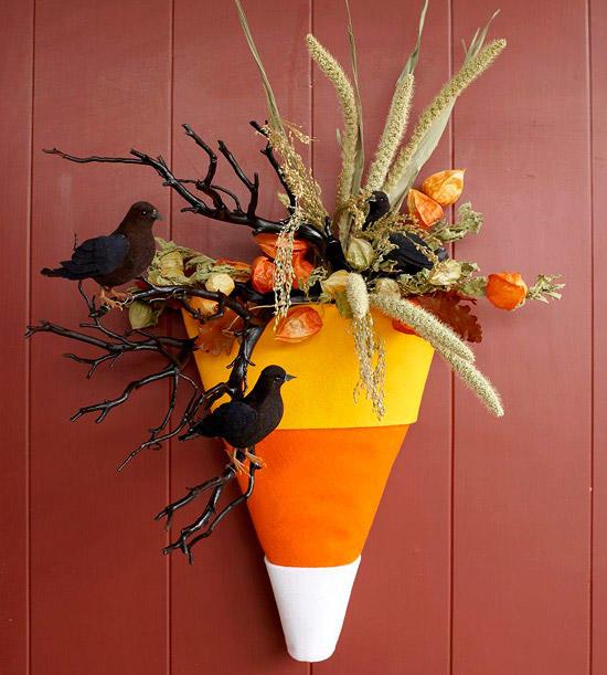 Candy Corn and Crow Halloween Wreath DIY