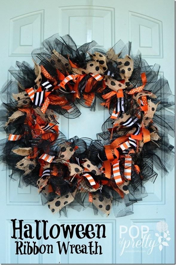 DIY Ribbon Halloween Wreath