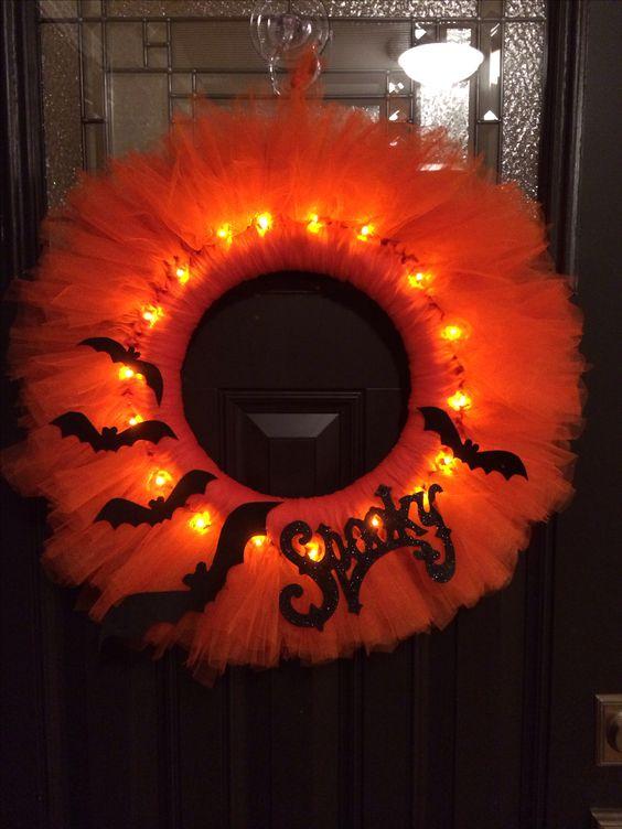 Glowing Orange Spooky DIY Halloween Wreath