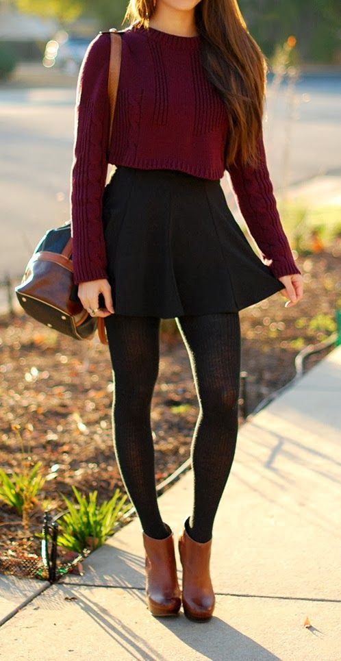 Red Crop Top Sweater and Black Skirt for Fall