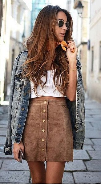 Jean Jacket and Beige Skirt for Fall