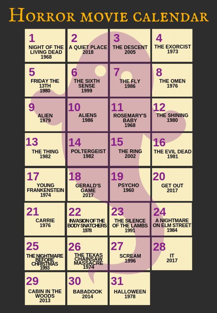 Top Halloween Movies October Calendar Printable